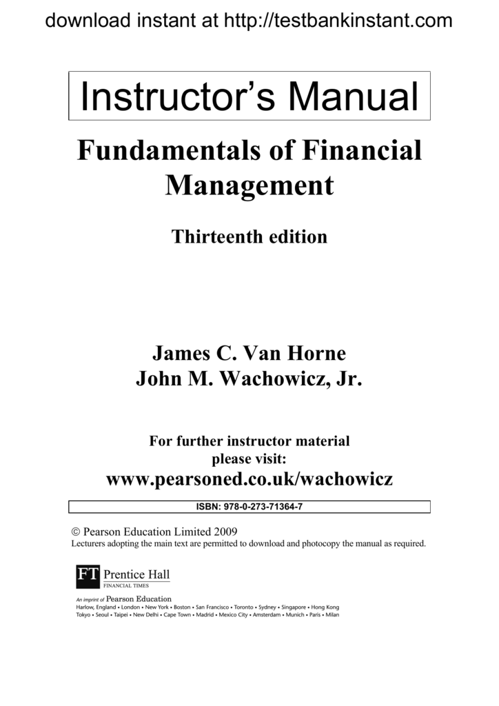 financial management and policy van horne solution manual