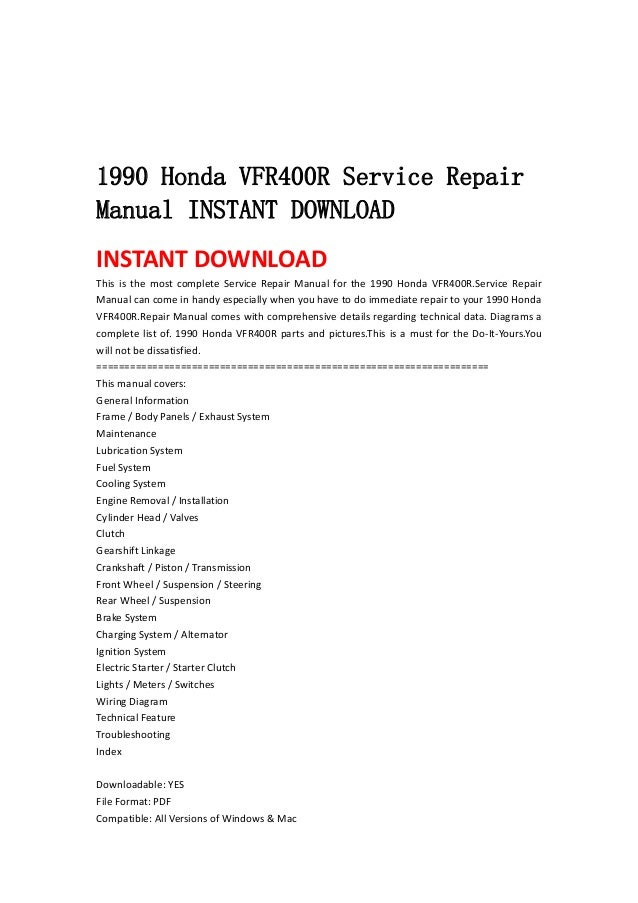 honda hawk 400 service manual